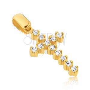 Zlat obesek - podaljšan latinski križ s cirkoni in objemkami