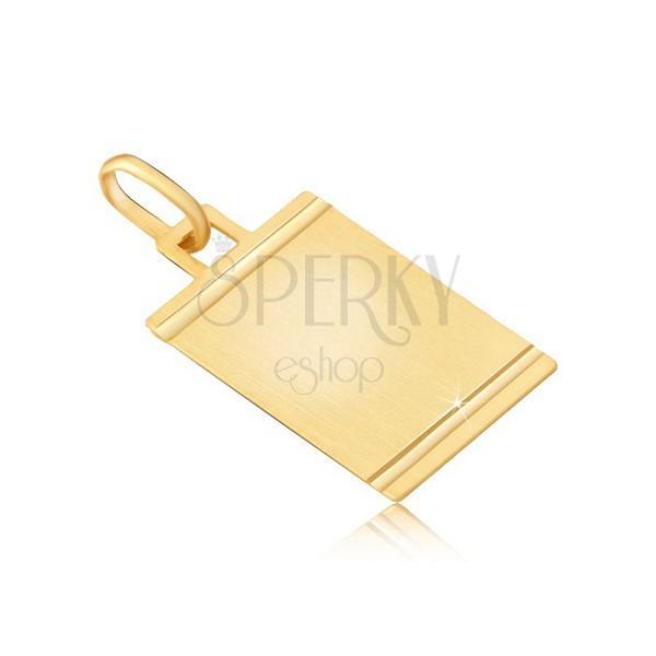 Obesek iz zlata - mat ploščica s sijočimi vodoravnimi zarezami