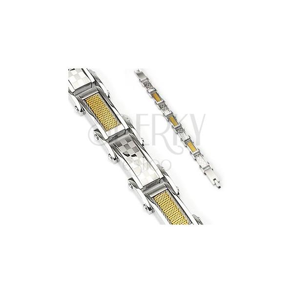 Zapestnica iz kirurškega jekla - šahovnica in pleten vzorec