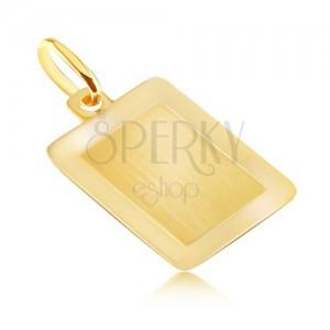 Zlat 14K obesek - gladka pravokotna ploščica s sijočim okvirjem