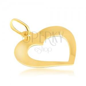 Obesek iz zlata - nekoliko ukrivljeno srce z zrcalnim leskom in izrezanim delom