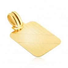 Zlat obesek - ploščica z navpičnimi zarezami in diagonalnim gladkim trakom