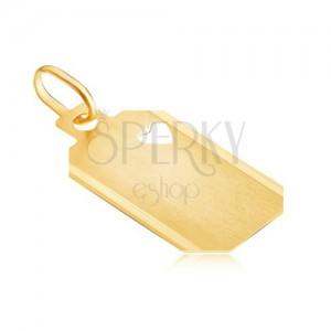 Zlat obesek - ploščica z izrezom srca in mat površino