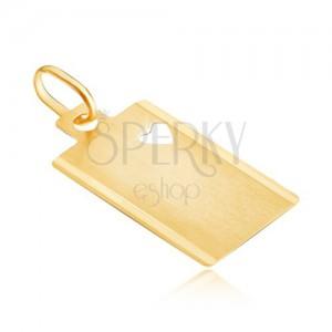 Obesek iz 14K zlata - mat pravokotnik z izrezanim srcem