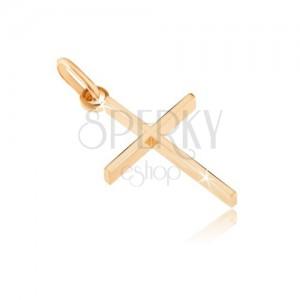 Obesek iz 14K zlata - tanek križ z visokimi stranicami