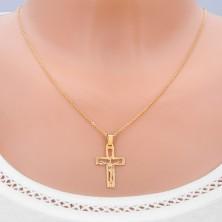 Obesek iz zlata - izrezan križ s Kristusom in sijočimi žarki