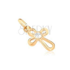 Zlat obesek - križ iz tankih zank, cirkon na sredini