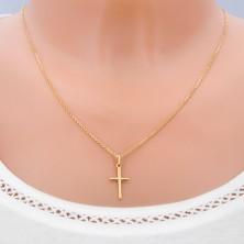 Obesek iz 14K zlata - gladek latinski križ s črko X na sredini