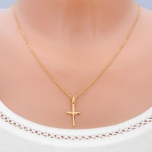 Zlat obesek - križ z dolgimi mat loki na krakih