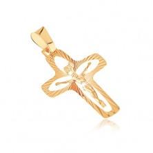 Zlat obesek - križ z žarki, izrezi v obliki zrnja in izbočen Jezus