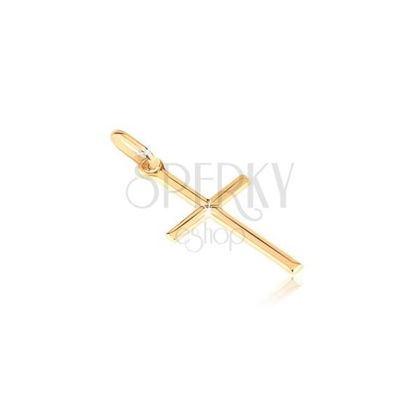 Zlat obesek - majhen sijoč križ z vgravirano črko X