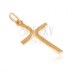 Obesek iz 14K zlata - križ s ploščatimi kraki in mat loki