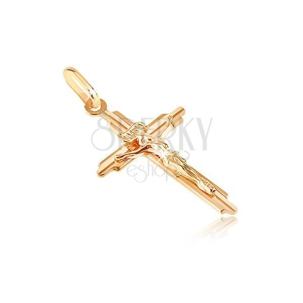 Zlat obesek - križ z vrezanimi kraki in tridimenzionalnim Jezusom