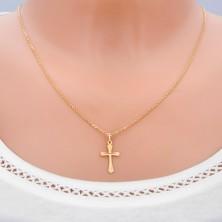 Zlat obesek - strukturiran križ z razširjenimi kraki in vitkim križem