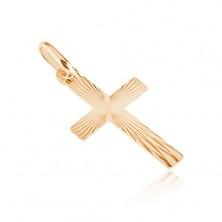 Zlat ploščat križ - sijoče pravilne zareze na površini