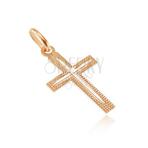 Križ iz 14K zlata - nazobčana površina s tankimi zarezami na krakih