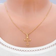Zlat obesek - križ z razvejanimi žarkastimi kraki in izrezom
