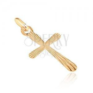 Obesek iz zlata - križ z zaobljenimi kraki in zrcalnimi lisami