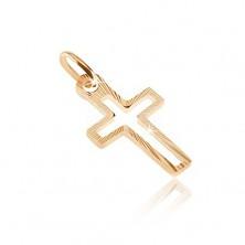 Zlat obesek - oris križa s sijočimi ozkimi trakovi