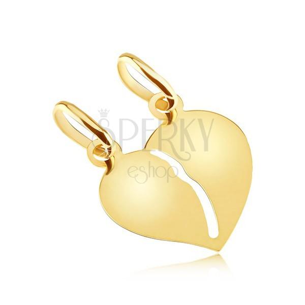 Dvojni obesek iz zlata - gladko sijoče zlomljeno srce za pare