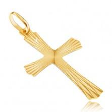 Zlat 14K obesek - žarkast križ z valovitimi konci