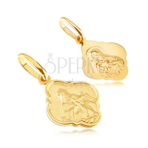 Obesek iz zlata - mat medaljon s Kristusom in Marijo