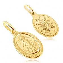 Obesek iz zlata - ovalna ploščica s simbolom Device Marije