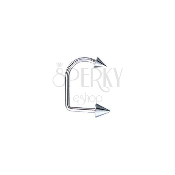 Obročast piercing za v brado in ustnico z dvema konicama 4 / 5 mm