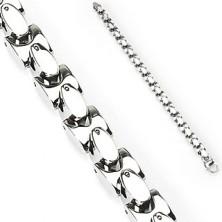 Jeklena zapestnica s srebrnimi elipsami