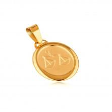 Obesek iz 14K zlata - mat ploščica z vgraviranim znakom TEHTNICA