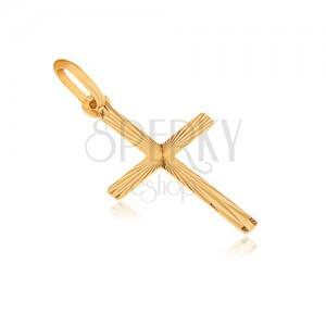 Obesek iz 14K zlata - ploščat latinski križ, žarkaste zareze iz sredine