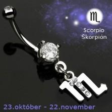 Astrološki uhan za popek - škorpijon