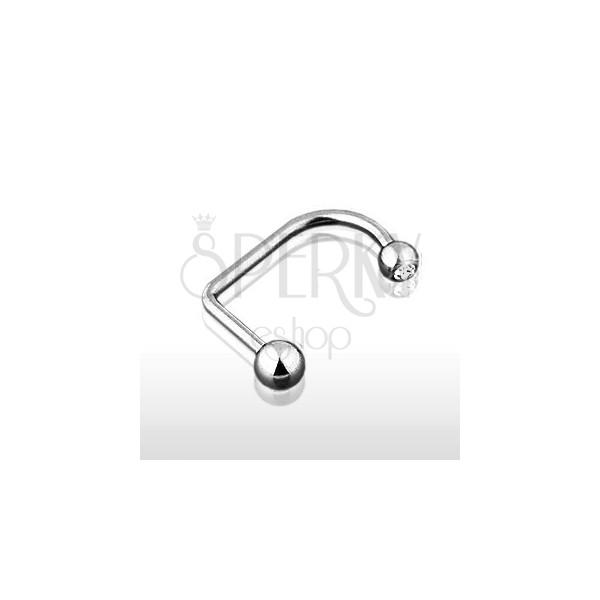 Obročasti piercing za ustnico in brado s kroglicama 4/5 mm