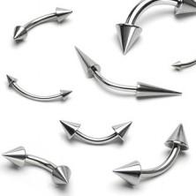 Jeklen piercing za obrv - dve sijoči konici