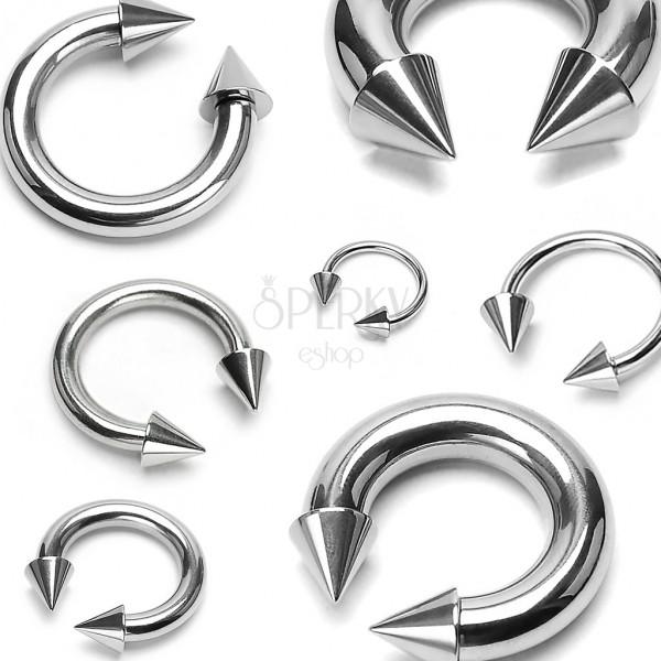 Piercing iz nerjavečega jekla srebrne barve – konjska podkev s konicama