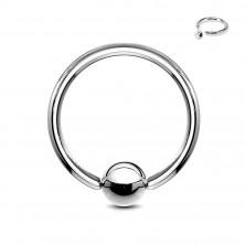 Jeklen piercing - obroček in kroglica srebrne barve, širina 1,6 mm