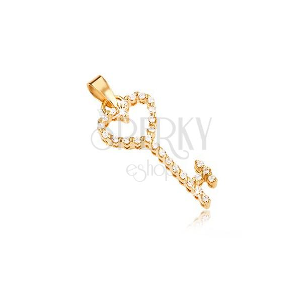 Zlat obesek - srčast ključ z vdelanimi prozornimi cirkoni