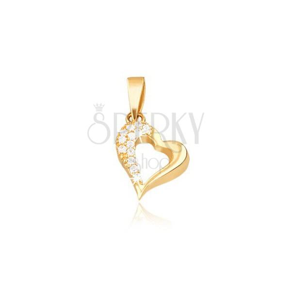 Obesek iz 14K zlata - oris nepravilnega srca, cirkoni