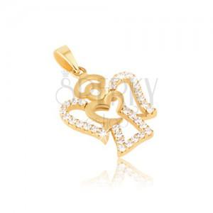Obesek iz rumenega 14K zlata - oris angela, prozorni okrogli cirkoni