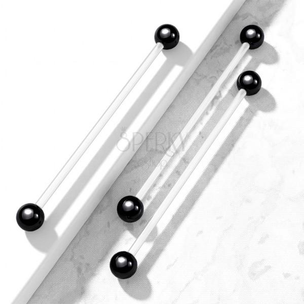 Prožen piercing s črnimi bunkicami iz titana