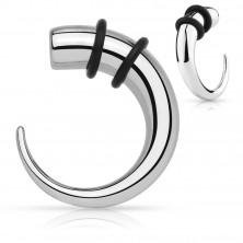 Razširjevalnik iz nerjavečega jekla – kavelj srebrne barve s črnima gumicama