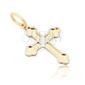 Zlat obesek - sijoč križ, tri-listne zaobljene konice krakov, okrasen okvir