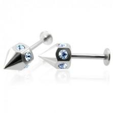 Par koničastih podustničnih piercingov z modrimi cirkoni
