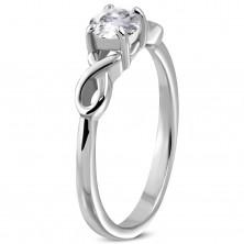 Zaročni prstan s cirkonom in dvojna jeklena pentlja