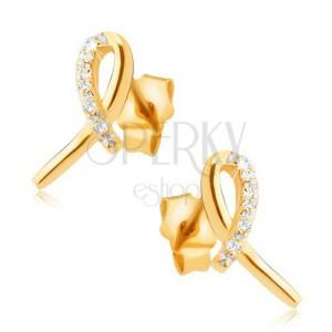Uhani iz rumenega 14K zlata - bleščeča pentlja, zanka s prozornimi kamni