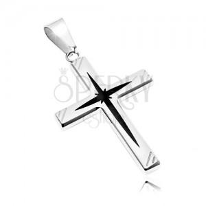 Obesek iz kirurškega jekla - križ s črno sredino