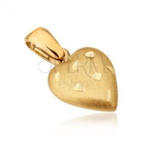 Zlat obesek - prostorno srce s satenasto površino, vdolbine