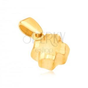 Obesek iz rumenega 14K zlata - 3D štiriperesna deteljica, satenasta površina, rob z vdolbinami