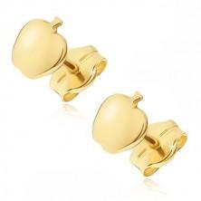 Uhani iz 14K zlata - majhno jabolko zrcalnatega sijaja, zaponka v obliki čepka