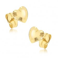 Lesketajoči se zlati uhani - srci nepravilne oblike, žarkaste zareze